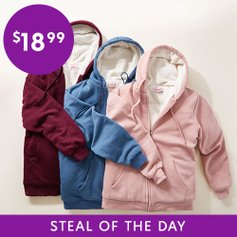 Zulily.com deals on Cozy Sherpa-Lined Zip-Up Hoodies