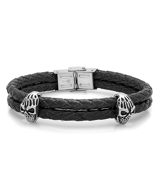 5ac7649caaa5d Steel Time Stainless Steel & Black Leather Skull Bracelet