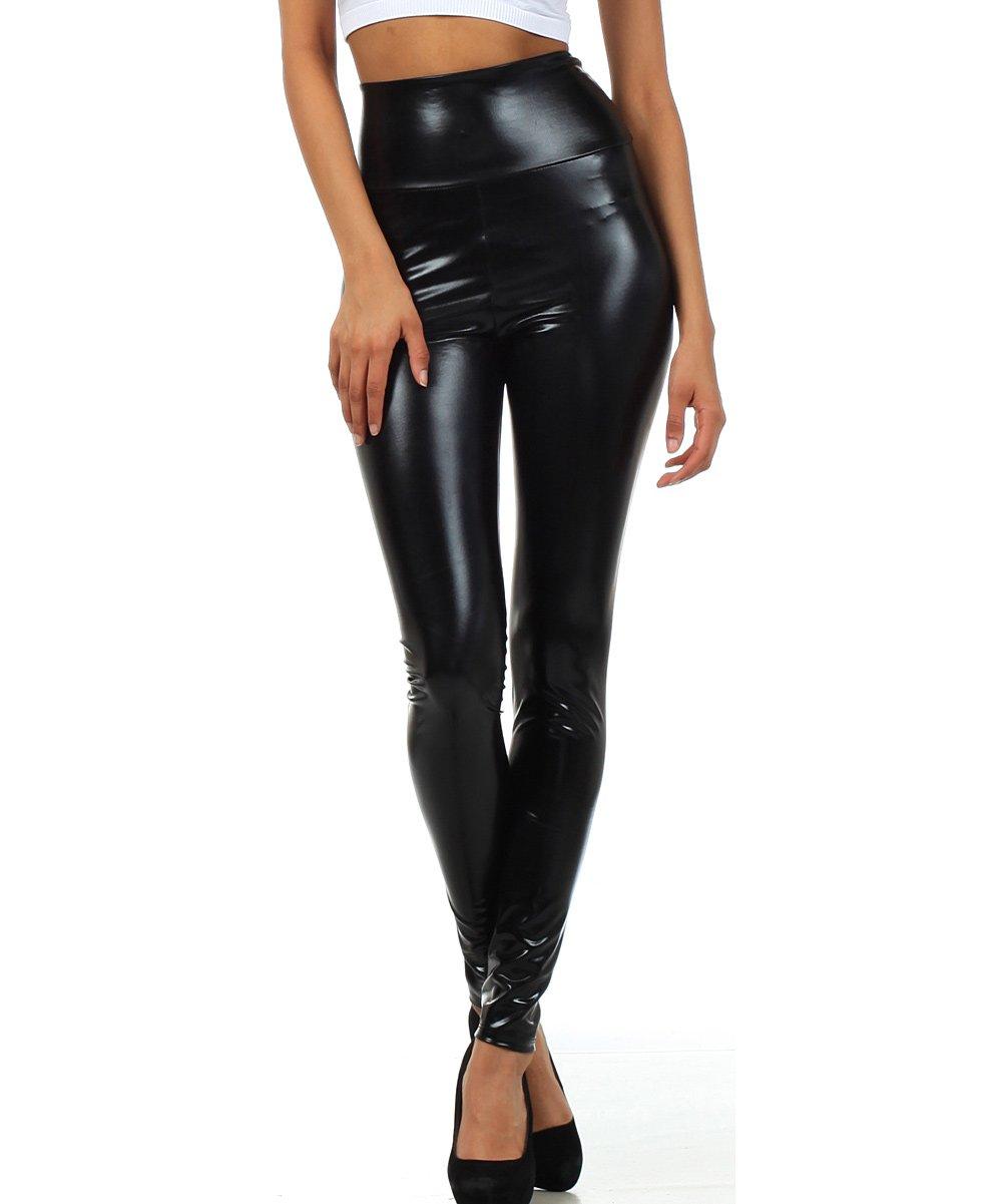 eaaad970b62 Black High-Waist Faux Leather Leggings - Women
