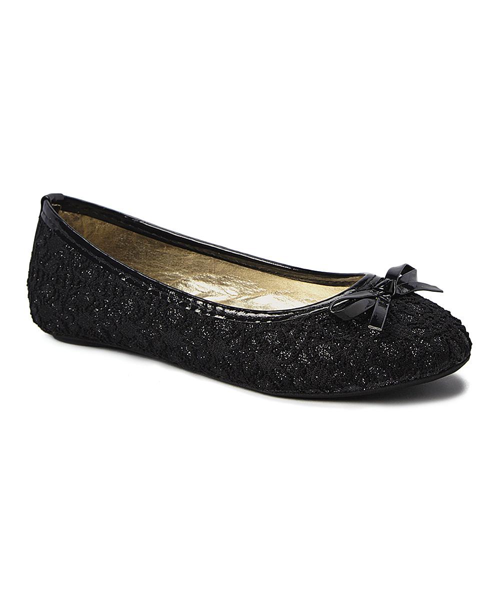 4b1519c69a9f Ositos Shoes Black Glitter Lace Flat