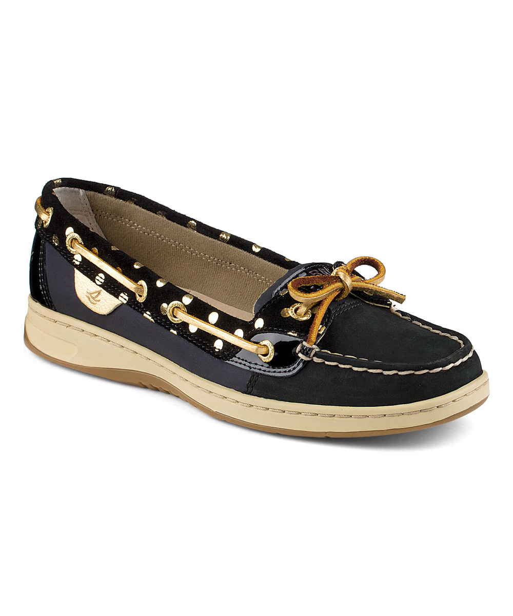 8724d18db3f Sperry Top-Sider Black Foil Dot Angelfish Leather Boat Shoe