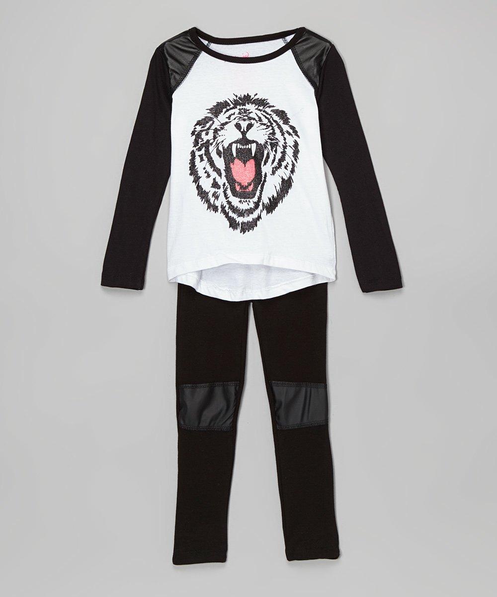 652b6e7c Liquid Gold Girls Black & White Tiger Tee & Leggings - Toddler & Girls