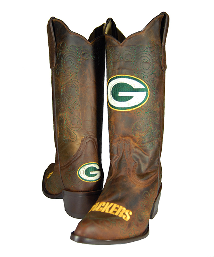 97e9aa37daf Old Pro Leather Goods Co. Green Bay Packers Flyover Cowboy Boot - Women