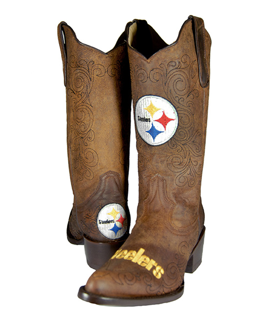 32c6e224a138d Old Pro Leather Goods Co. Pittsburgh Steelers Flyover Cowboy Boot - Women