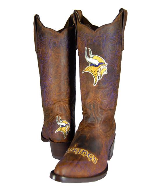 Old Pro Leather Goods Co. Minnesota Vikings Flyover Cowboy Boot ... 52aa709da8e