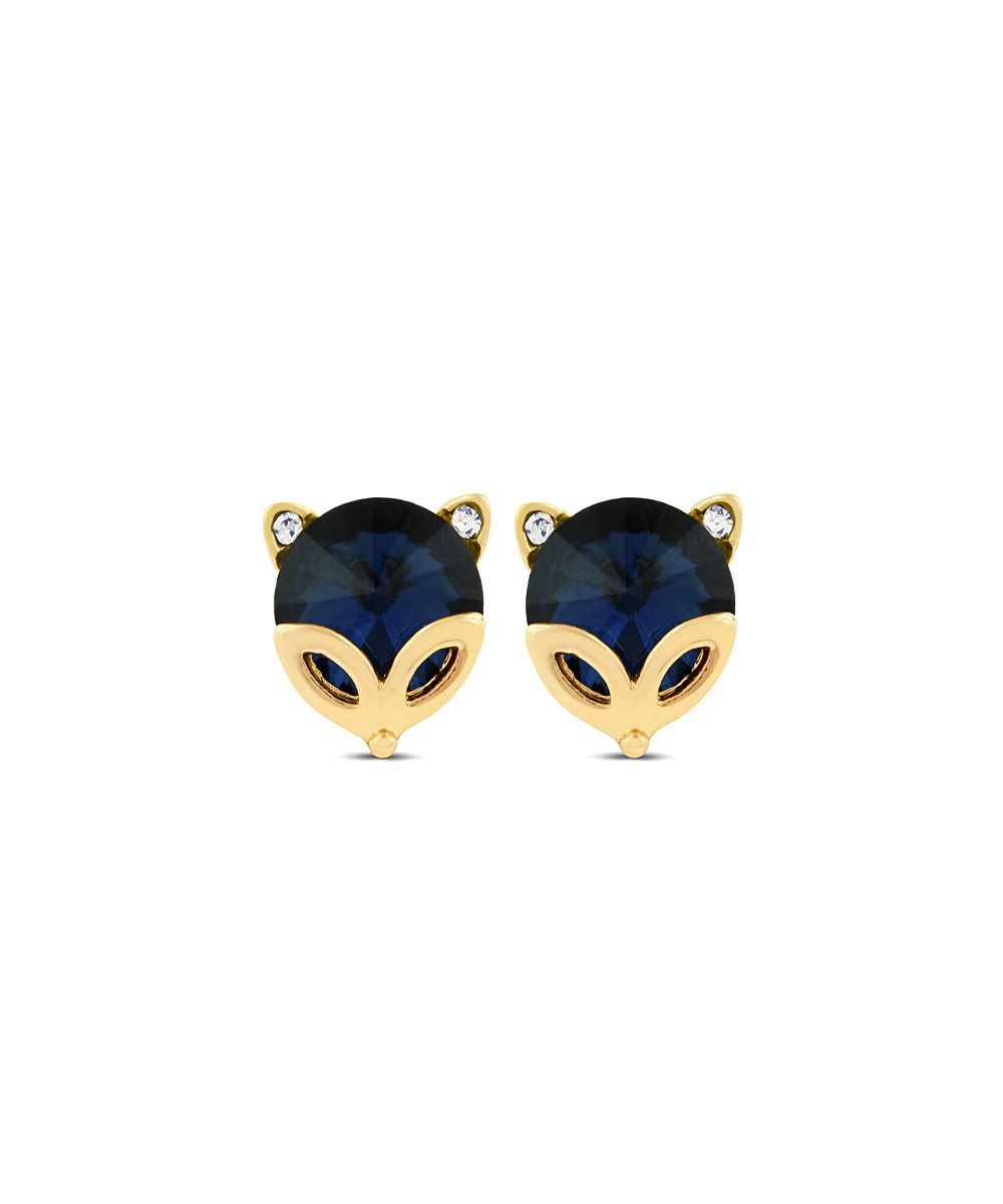 80088488a0287 Shark Stores Sapphire Blue & Gold Fox Earrings Made With SWAROVSKI ELEMENTS
