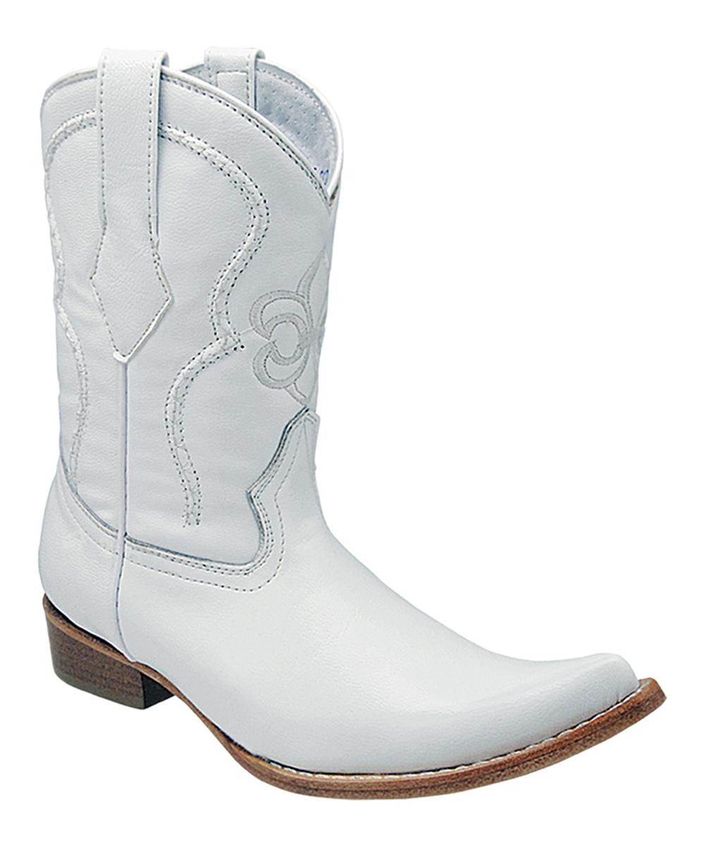 b28818c547e Joe Boots White Fleur-de-Lis Leather Cowboy Boot - Boys