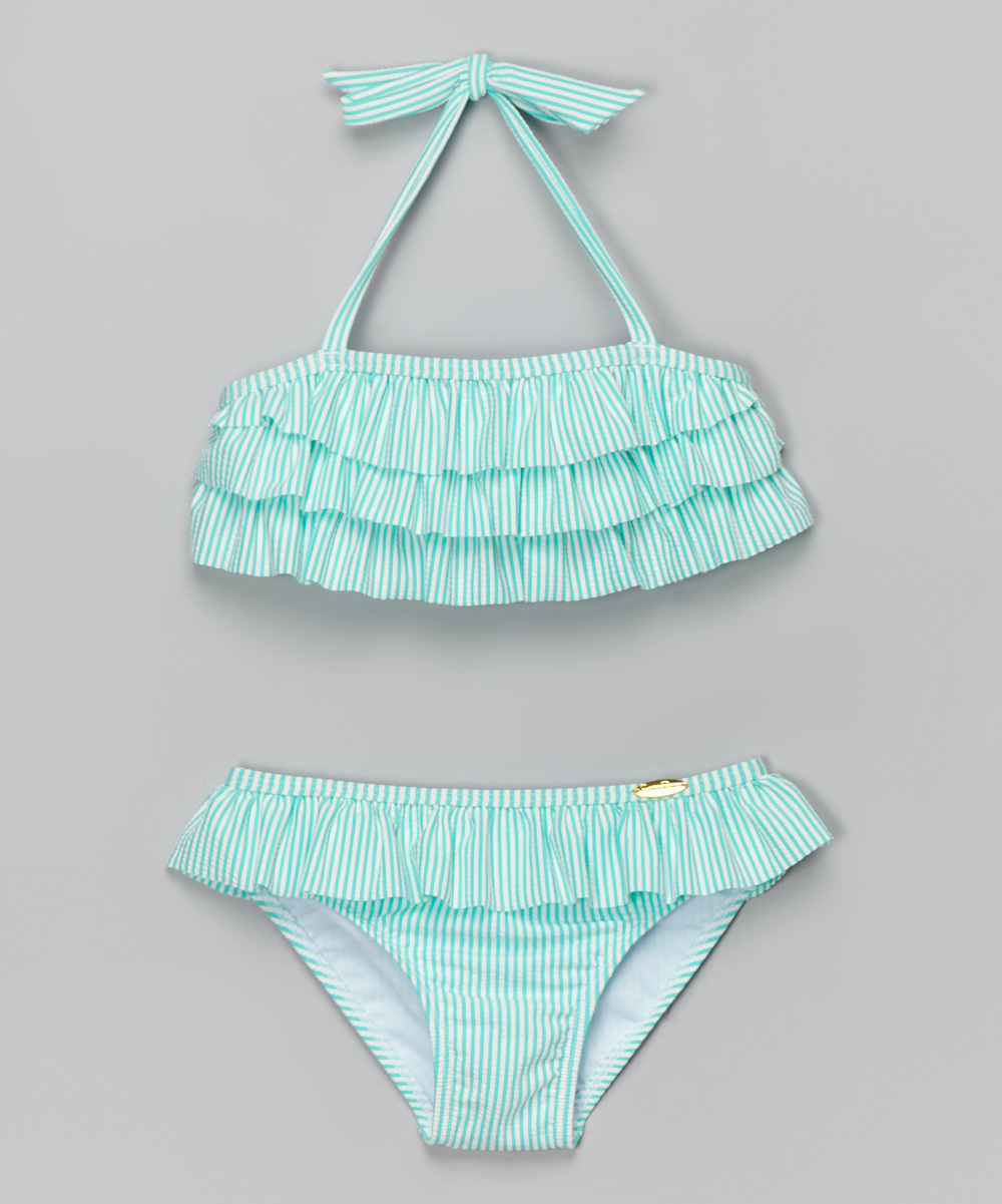 54a9a8907cc Jessica Simpson Collection Turquoise Ruffle Seersucker Bikini - Toddler &  Girls