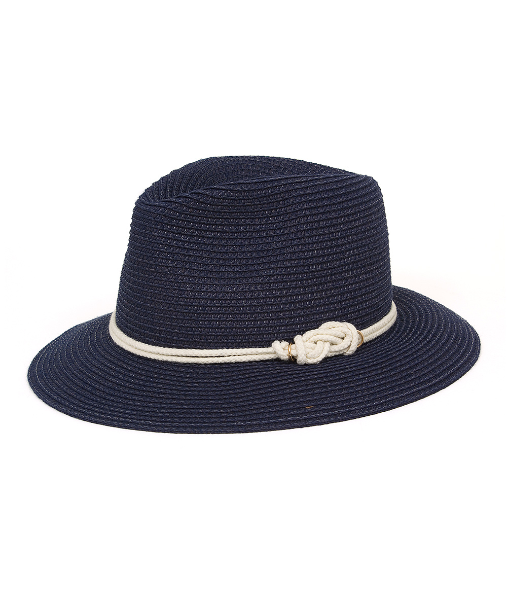 1f38e89583d59 love this product Navy   White Rope-Accent Fedora