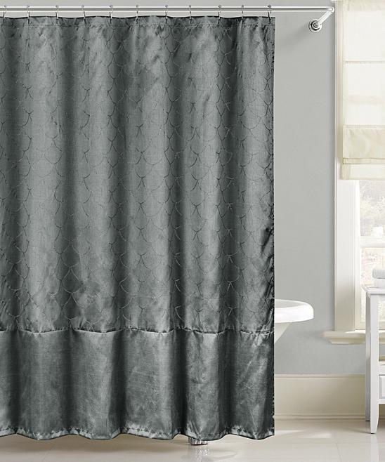 Gunmetal Fish Scales Metallic Shower Curtain