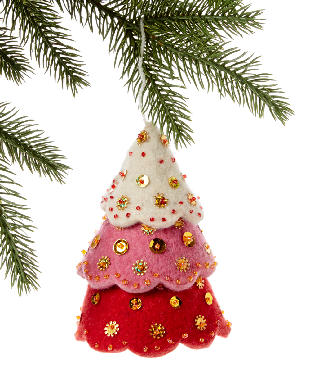 Red Christmas.The Silk Road Bazaar Three Tiered Red Christmas Tree Handmade Wool Ornament
