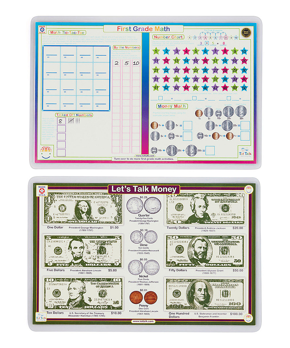 Tot Talk First Grade Math & Money Activity Place Mats
