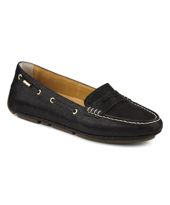 love this product Black Pebble Gold Driver Leather Penny Loafer - Women