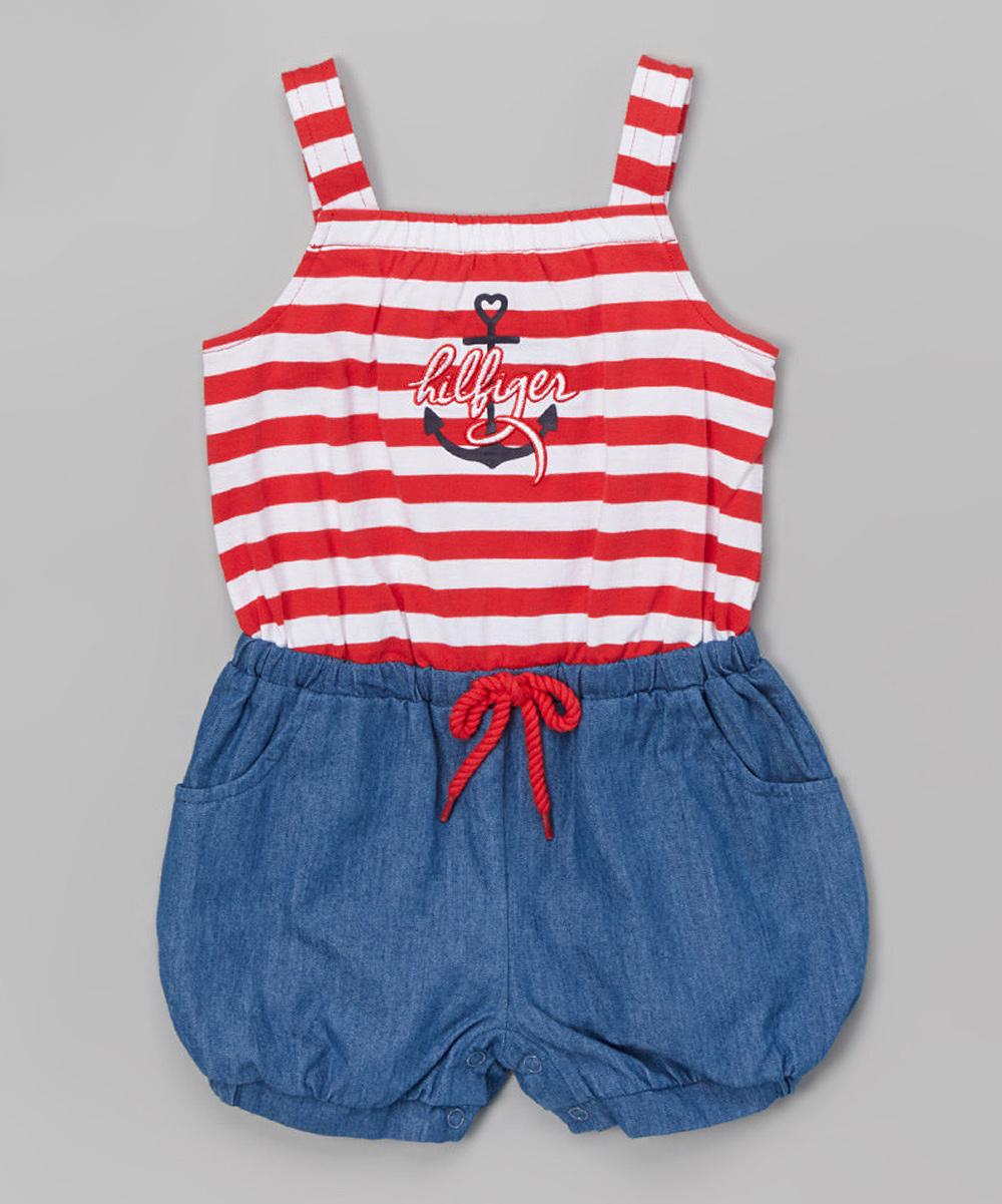 e8560d409489 Tommy Hilfiger Red   Blue Stripe Romper   Headband - Infant ...