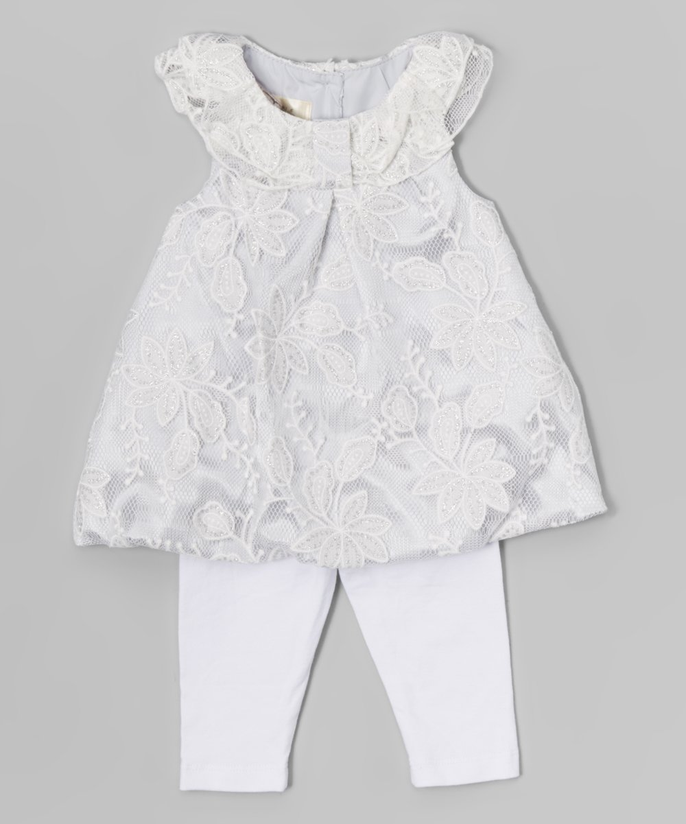 Laura Ashley London White Sparkle Lace Dress & Leggings - Newborn & Infant