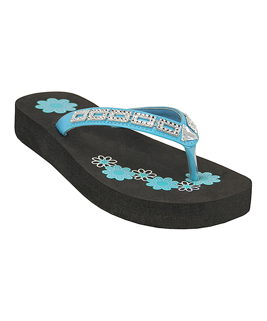 80c0bc1befe42 Easy Shoes Black   Turquoise Daisy Rhinestone Flip-Flop - Girls