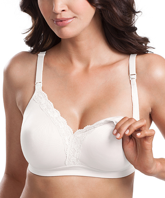 0d99049e9f Leading Lady White Lace-Trim Wireless Soft Cup Nursing Bra - Plus ...
