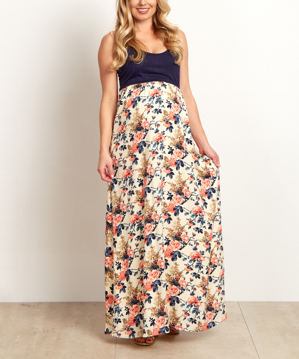 Navy Blue Color Block Floral Maternity Maxi Dress