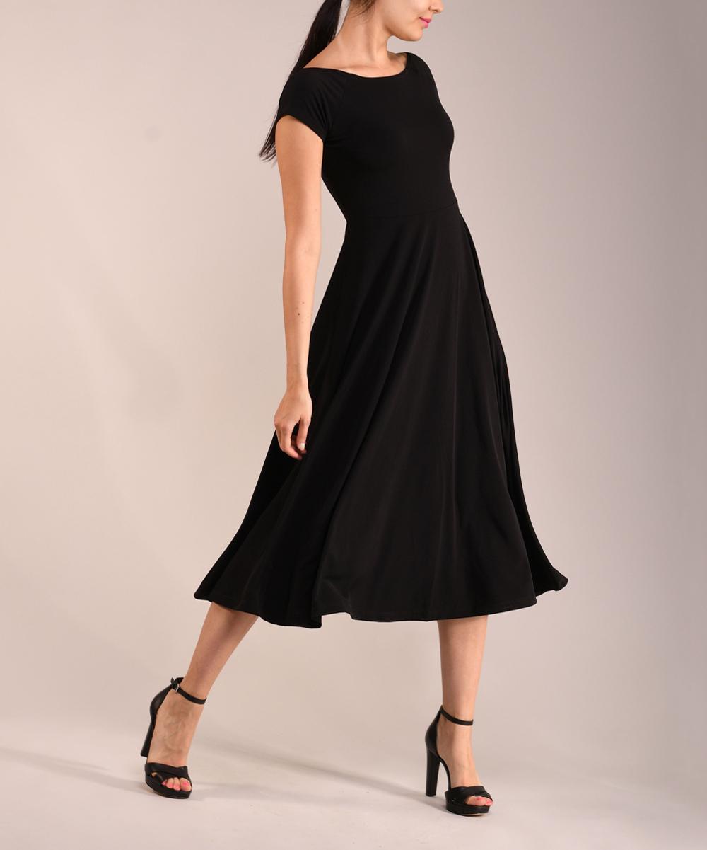 f4b1518dd37c Black Cap-Sleeve Midi Dress - Women & Plus