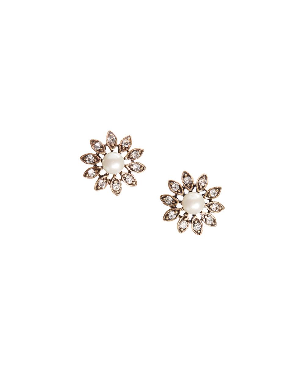 b27a774207 Allison Reed Imitation Pearl & Crystal Timeless Daisy Earrings