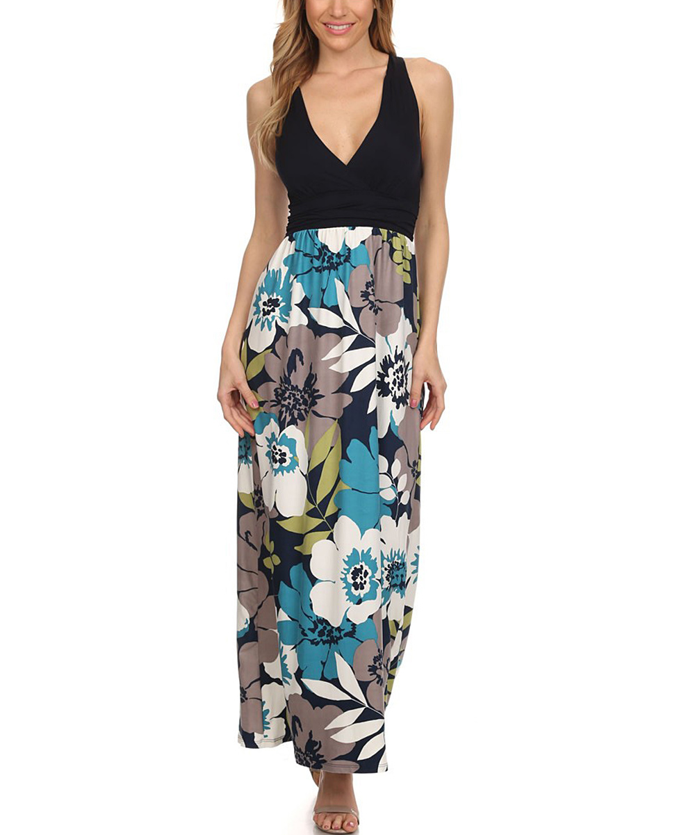 359353555f1 Gilli Navy Floral V-Neck Maxi Dress