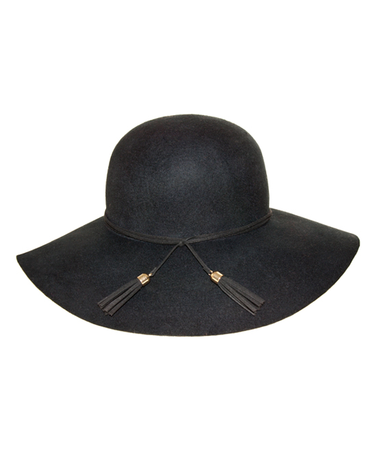 41e1f34f5 Nine West Black Tassel Wool Felt Floppy Hat