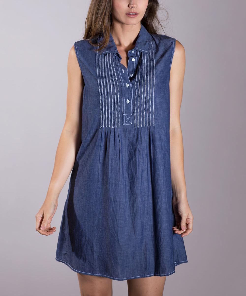 Cino Indigo Chambray Belted Shirt Dress Women Zulily