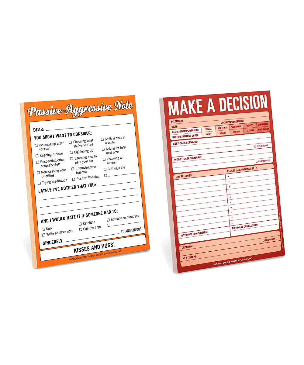 Knock Knock Passive Aggressive Make A Decision Notepad Set Zulily