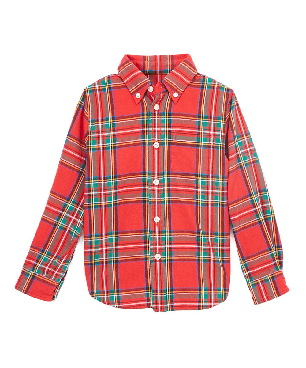 d21f3163088f3 E-Land Kids Red & Green Tartan Plaid Button-Up - Toddler & Boys