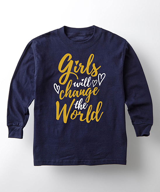 8dd65909 love this product Navy 'Girls Will Change The World' Long-Sleeve Tee -  Toddler & Girls