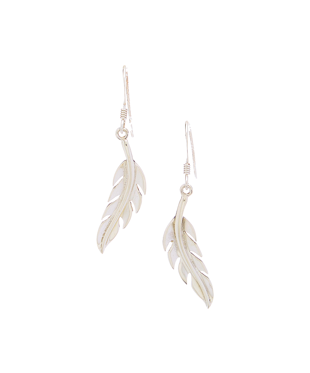 234de898451a7 Trendy Silver Sterling Silver & White Gold Feather Drop Earrings