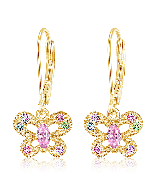 6056c76f57d91 Chanteur Designs Pink & 14k Gold-Plated Butterfly Drop Earrings With  Swarovski® Crystals