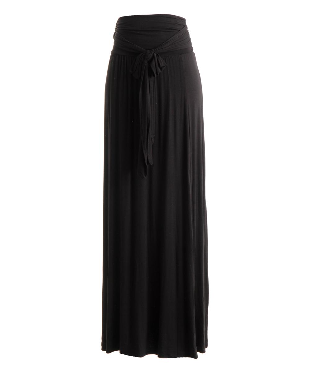 68add749ae Fashionomics Black Tie-Waist Maxi Skirt | Zulily