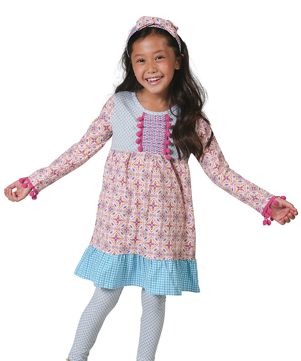 Blue & Pink Abstract Pom-Pom Paige Dress - Toddler & Girls