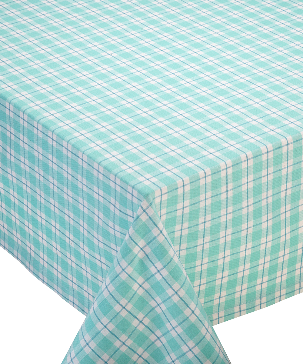 Design Imports Dewdrop Plaid Square Tablecloth