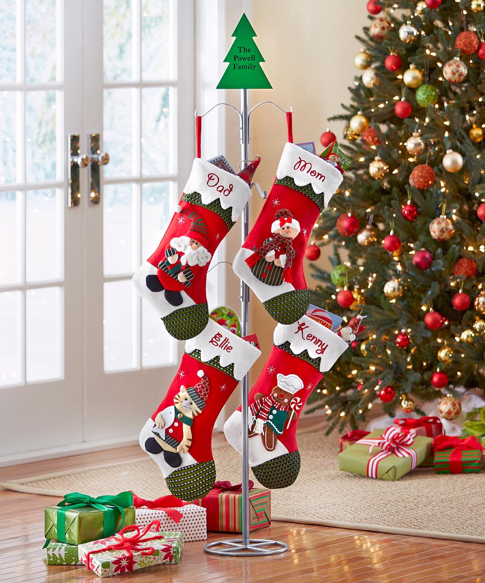 Christmas Tree Stocking Holder.Personal Creations Metal Personalized Stocking Holder