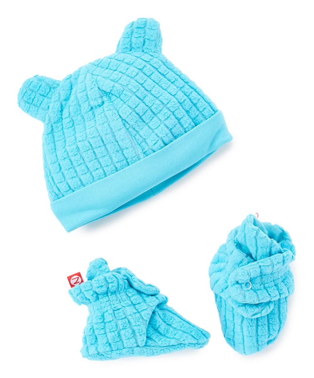 bf7c948b3 Zutano Pool Blue Waffle Knit Hat & Booties - Infant
