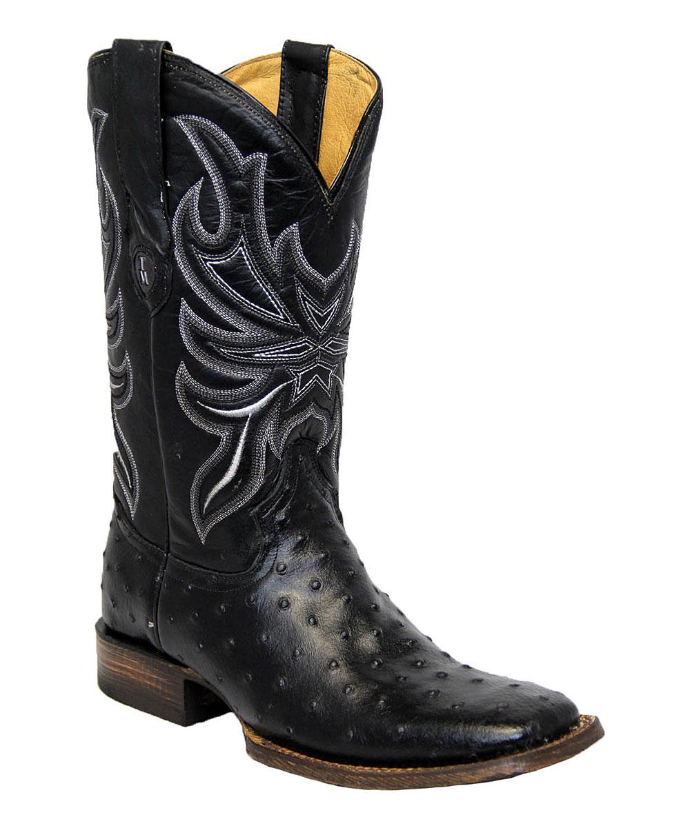 89e17c2bf42 Tanner Mark Boots Black Ostrich Print & Black Leather Top Square Toe - Men