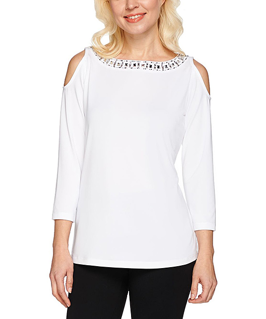 988cc186a58d05 love this product White Artisan Embellished Butterknit Cold Shoulder Top -  Plus Too