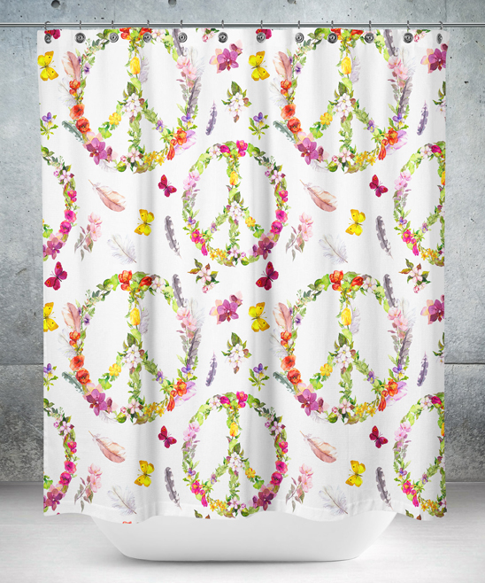 White Green Floral Peace Sign Shower Curtain