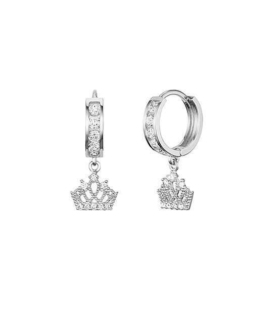 Lovearing Sterling Silver Princess Crown Huggie Earrings S