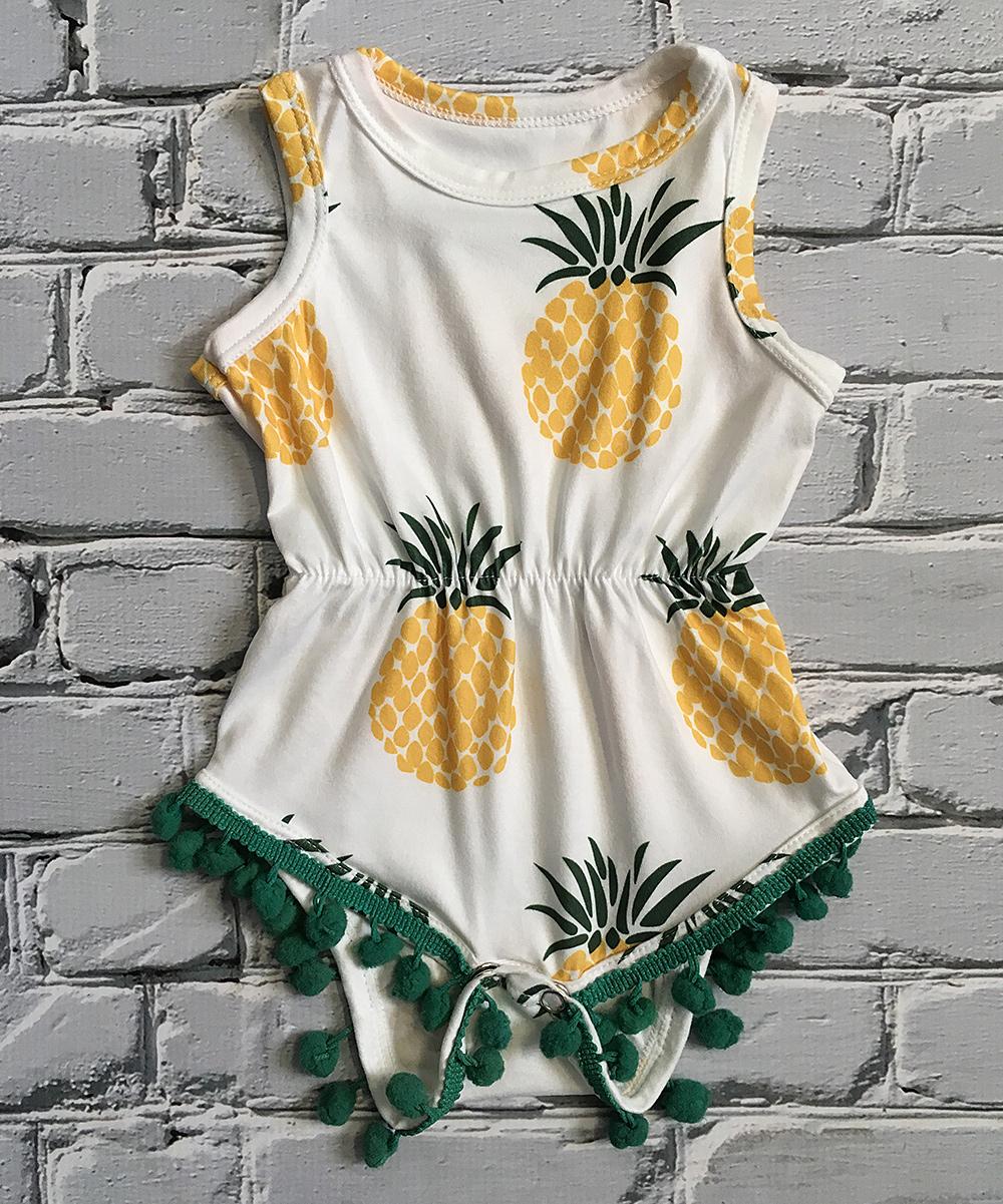 10ed46e48fc1 Little Mister Hipster Yellow   Green Pineapple Pom-Pom Romper ...