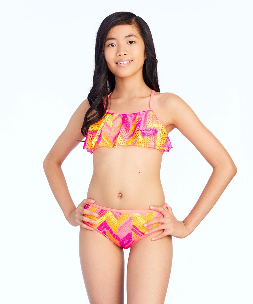 01ce06d15c5ec love this product Orange & Pink Crochet Cutie Bikini Top & Bottoms - Girls