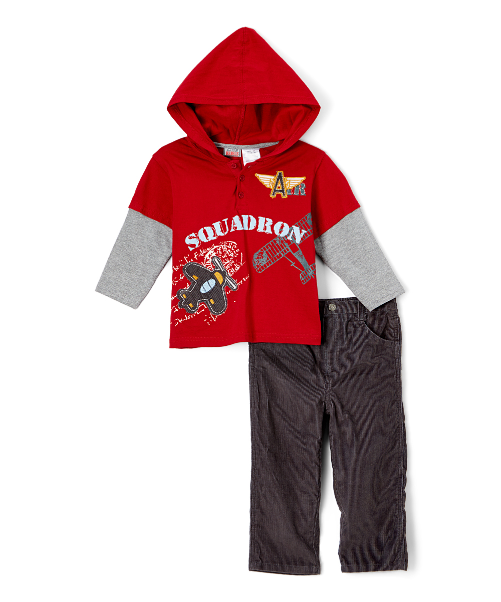 Childrens Apparel Network Dark Red Polo Tee Pants Toddler Zulily