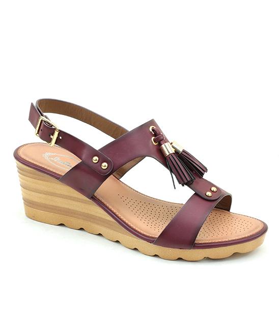 Burgundy Tassel Wedge Sandal Women Zulily