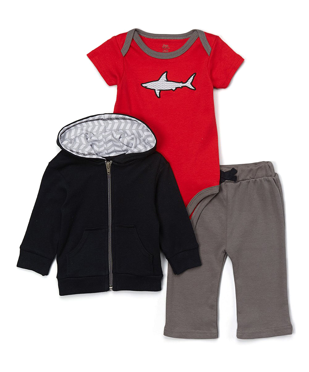 04a7c98fcdb6 Yoga Sprout Black   Red Shark Bodysuit Set - Newborn   Infant