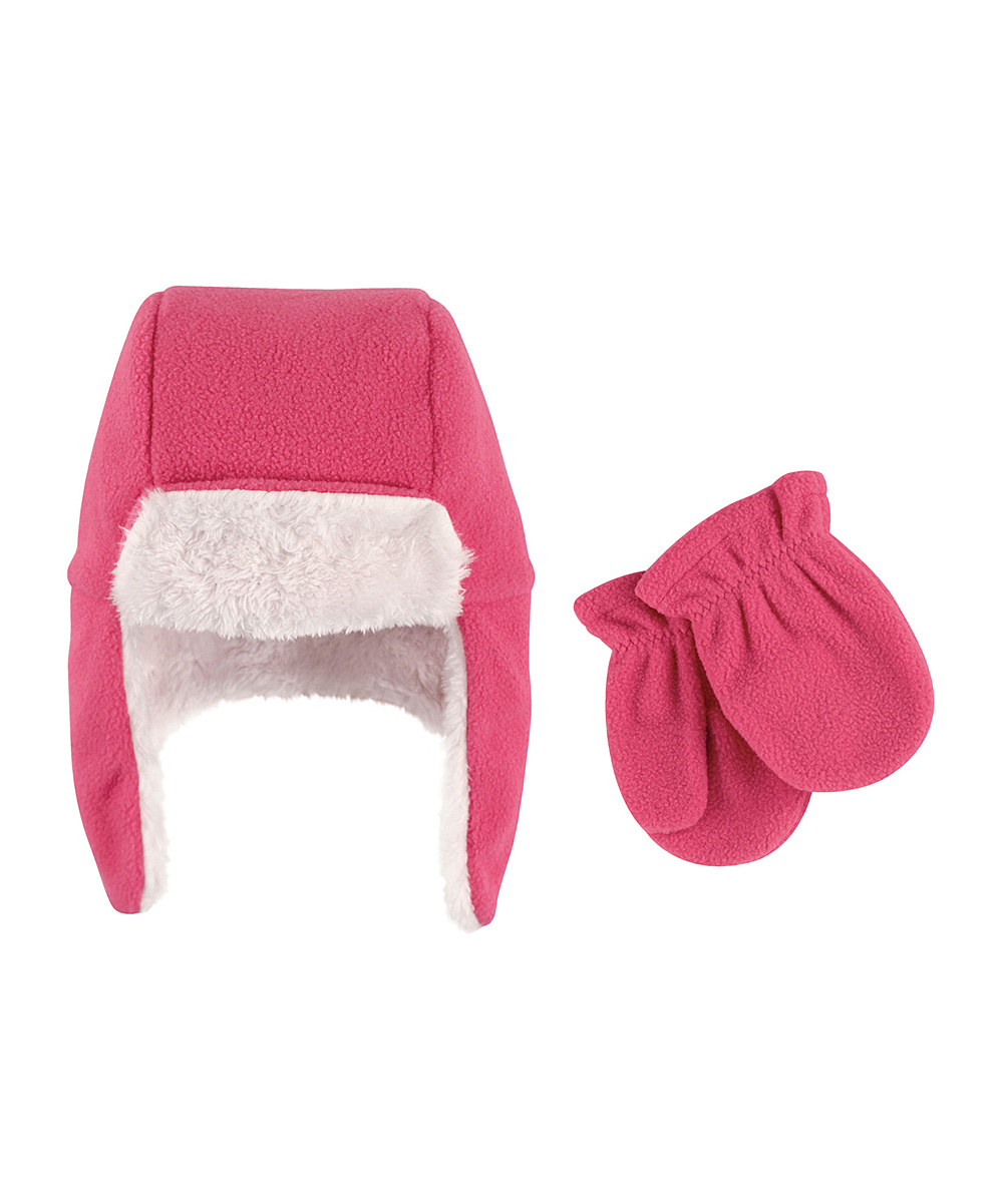 4194b66e7 Hudson Baby Dark Pink Fleece Trapper Hat & Mittens