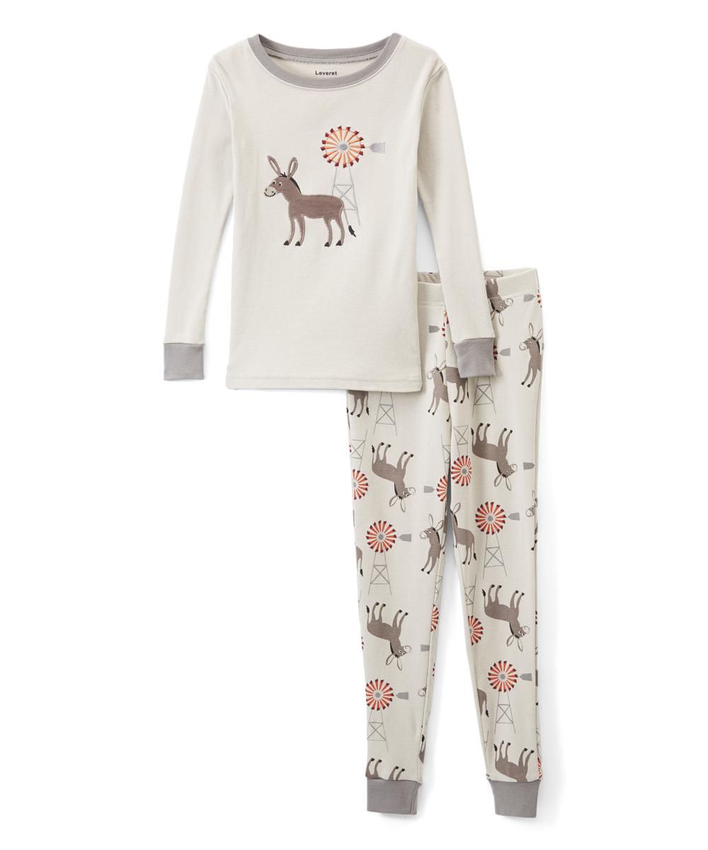18745cc34 Leveret Off-White Donkey Organic Cotton Pajama Set - Infant
