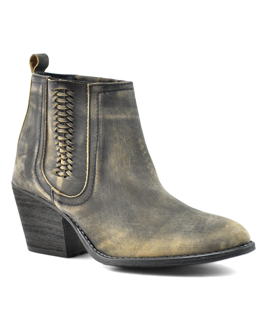 27073b5b34099 Very Volatile Charcoal Script Leather Ankle Boot