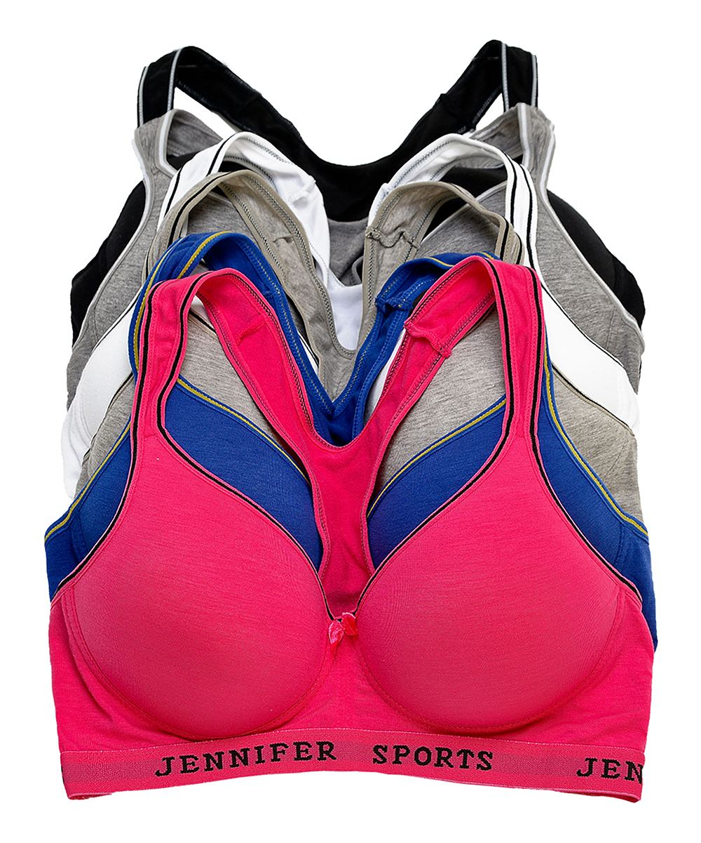 aa55987ef love this product Pink   Gray Molded Cotton Racerback Sports Bra Set - Plus  Too